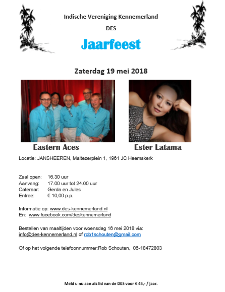 Jaarfeest DES met The Eastern Aces en Ester Latama